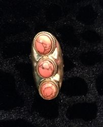 Coral & Gold Stone Ring for sale at Glamhairus.com