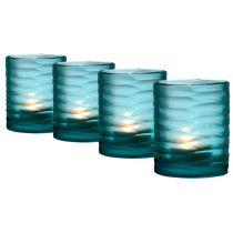 Eichholtz Tea Light Holder Ocean - Set of 4 Glass Tea Light Holders, Candle Holders, Candle Accessories, Hurricane Lamps, Black Orchid, Contemporary Lamps, Glass Candle, Black Glass, Luxury Living