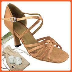 Bundle - 5 items: Very Fine Women's Ballroom Salsa Tango Dance Shoe 1613 Protectors Pouch Sachet Bag, Brown Satin 7 M US Heel 2.5 Inch - Athletic shoes for women (*Amazon Partner-Link)