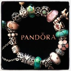PANDORA Bracelet in Lovely Pink and Teal. Pretty Colour Combination!