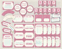 Baby Shower Printable Complete Package Hot Pink by PixieBabyShower Bright Pink, Pink Blue, Hot Pink, Flower Games, Blue Game, Wishes For Baby, Gift Table, Baby Shower Printables, Food Gifts