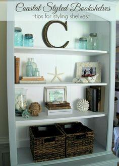 Coastal Styled Bookshelves (Decor Challenge) - easy way to style shelves - #coastaldecor #styling artsychicksrule