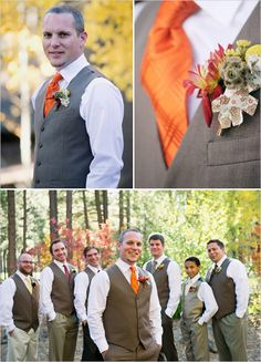 I'm thinkin' orange tie for the groom, but navy for the dudes. Also, the vests would be much less toasty for a summer wedding than a full tux.