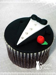 Tuxedo Cakes... could see these for a bridal shower with dress and tuxedo cupcakes! So cute!