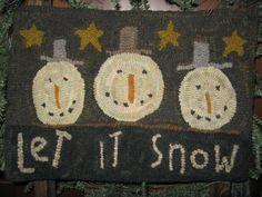 """Snowman ""Hooked rug, by Julie Butler"