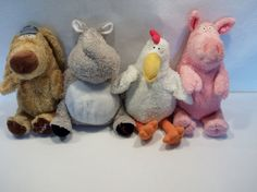 """Lot of 4 Sandra Boynton 12"""" - 15"""" plush toys pig hippo chicken Kohls cares. Here are my 4 plushes all in a row."""