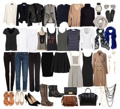 French-Wardrobe-Parisian-Fashion-List-Essentials-Items.  All sorts of wrong colours, but I like the ideas.