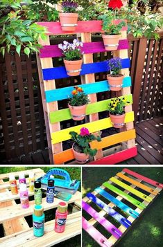 Rainbow Pallet Flower Garden Planter - Pallet Projects - 150 Easy Ways to . Rainbow Pallet Flower Garden Planter – Pallet Projects – 150 Easy Ways to … – Simply Garden Diy Garden Projects, Diy Pallet Projects, Garden Crafts, Wood Projects, Diy Crafts, Pallet Ideas, Garden Ideas, Patio Ideas, Backyard Ideas