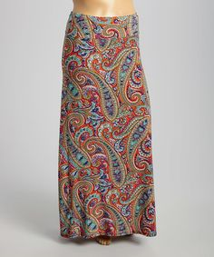 Look what I found on #zulily! Red & Turquoise Paisley Maxi Skirt - Plus #zulilyfinds