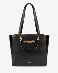 Slim bow patent shopper bag - Black | Bags | Ted Baker