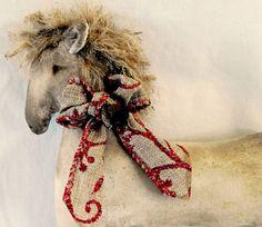 Christmas decoration Primitive Christmas Horse by TheChristmasDen Primitive Christmas, Christmas Crafts, Christmas Things, Tree Decorations, Christmas Decorations, Christmas Horses, Prim Decor, Felt Hearts, Star Designs