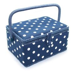 Lovely blue sewing basket with polkadots - Yarnplaza.com