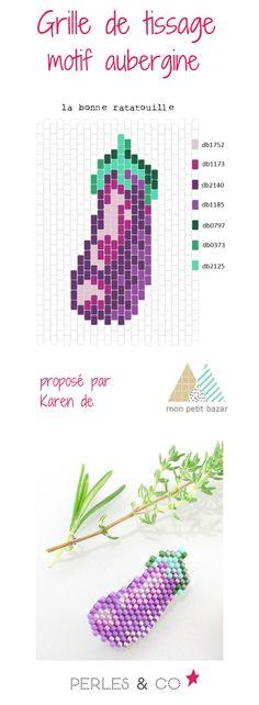 """Et si on s'amusait à tisser une aubergine? Grâce à Karen du blog Mon petit bazar, voici un diagramme nommé """"la bonne ratatouille"""" pour réaliser un motif coloré. Ce motif peut être réalisé avec la technique brickstitch Retrouvez le tutoriel sur la boutique en ligne Perles & Co >> https://www.perlesandco.com/Diagramme_aubergine_en_perles_Miyuki_Delicas_par_Mon_Petit_Bazar-s-2775-47.html"""