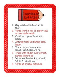Red Words Weekly Homework and Assessments | Homework, Curriculum ...