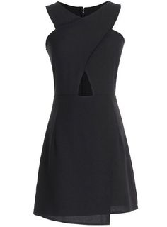 Black Sleeveless Cross Hollow Slim Dress US$28.33