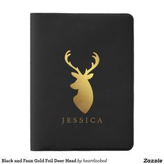 Black and Faux Gold Foil Deer Head Extra Large Moleskine Notebook