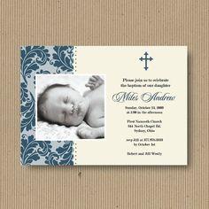 Custom Baptism or Christening Invitation for Boy, 5x7, You Print - Flourish