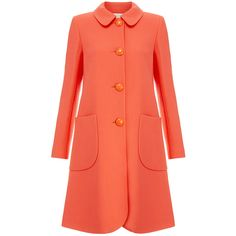 Goat Wade Coral Wool-Crepe Coat ($395) ❤ liked on Polyvore featuring outerwear, coats, casaco, pink, red coat, red wool coat, pink coat, wool coat and woolen coat