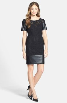 Laundry by Shelli Segal Faux Leather & Lace Sheath Dress on shopstyle.com
