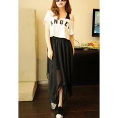 Sweety Style Irregularity Side Solid Color Chiffon Skirt For Women