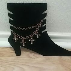 Boot Anklet Add some bling to your boots double copper chain with beautiful crosses dangling one size fits most Jewelry