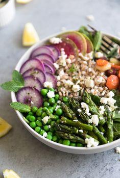 Spring Vegetable Salad with Farro and Lemon Mint Vinaigrette