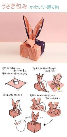 Furoshiki - Bunny Ears Japanise fabric gift wrap, Easter gift wrap idea