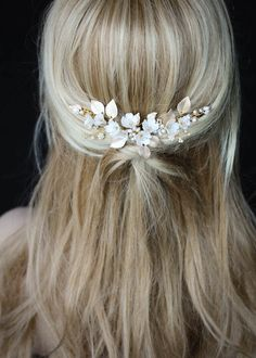 LUCILLE floral bridal headpiece 7 Floral Headpiece, Headpiece Wedding, Bridal Headpieces, Wedding Veils, Bridal Hair Half Up With Veil, Down Hairstyles, Wedding Hairstyles, Clay Flowers, Hair Vine