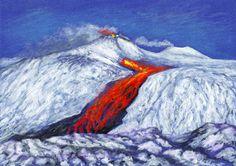 Il Vesuvio artistico 2018 - VesuviowebVesuvioweb, Etna eruzione, dipinto Jana Haasová
