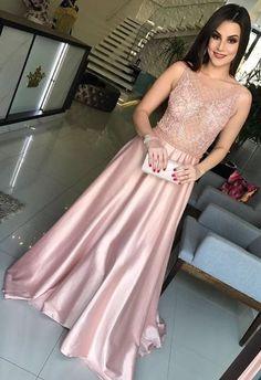 Modest Beading A-line Pink Jewel Sleeveless Prom Dress #longpromdresses