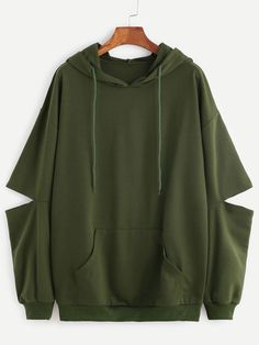 Cheap pullover hooded sweatshirt, Buy Quality pullover polo directly from China sweatshirt ymcmb Suppliers: ROMWE Women Hoodies Sweatshirts Autumn Womens Hoodies Pullover Drop Shoulder Elbow Cut Out Hooded Pocket Sweatshirt Hoodie Sweatshirts, Sweat Shirt, Sweat Cool, Olive Green Hoodie, Green Sweater, Sweaters And Jeans, Cool Hoodies, Green Hoodies, Mode Inspiration