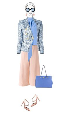 Office outfit: Blue - Peach by downtownblues on Polyvore #officewear  #Valentino #SalvatoreFerragamo #BarbaraBui