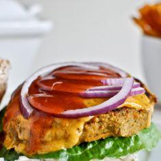 BBQ Cheddar Chickpea Burgers