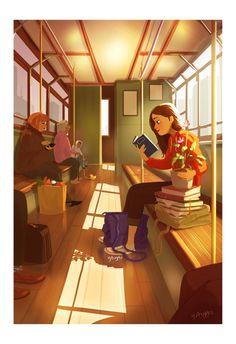 personal illustrations and paintings by yaoyao ma van as Alone Art, Reading Art, Girl Reading, Cute Illustration, Anime Art Girl, Aesthetic Art, Cute Drawings, Cartoon Art, Cute Art