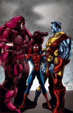 Juggernaut vs Colossus and Spiderman Comic Book Characters, Comic Book Heroes, Marvel Characters, Comic Character, Comic Books Art, Comic Art, Marvel Comics Art, Marvel Heroes, Anime Comics