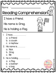 Free Reading Comprehension is suitable for Kindergarten students or beginning readers. There are 15 color and 15 black & white pages of reading comprehension worksheets. Each page contains 3 to 4 sentences passage, a related picture, and 3 multiple choice Free Kindergarten Worksheets, Reading Worksheets, Kindergarten Reading, Teaching Reading, Preschool Writing, Reading Activities, First Grade Reading, Learn To Read, Phonics
