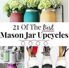 These mason jar crafts are so cute - I'm inspired to make my own! A frugal gal can appreciate these affordable crafts - I think I love the lamp the most!