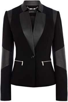 Faux Leather Jersey Blazer - Lyst