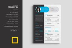 Key Features: 2 Color Version for both Resume and Cover Letter Size with Bleed Well Labeled and organized Layer 300 DPI, CMYK, Print Ready Fully Customizable Free Fonts Used - Roboto Simple Resume Template, Resume Design Template, Cv Template, Print Templates, Resume Templates, Design Resume, Letterhead Design, Design Templates, Brochure Design