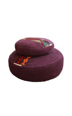 Upholstered Round Ottoman Two Piece Set accented with traditional Saudi Sadu fabric, Shop more Benches & Ottomans at Desert Designs Ottoman Furniture, Ottoman Bench, Desert Design, Round Ottoman, Custom Made Furniture, Two Piece Sets, Floor Cushions, Deserts, Shape