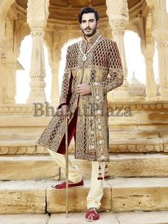 Cream & Red Brocade Chipkan Style Sherwani