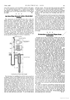 An Iron Pipe Ground with a Rock-Salt Filling, Electrical Engineering: A Monthly Journal for All Interested in the ...