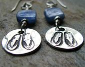 Silver Flip Flop Earrings, PMC Artisan Jewelry, Kyanite Semi Precious Stones, Beach Jewelry