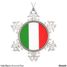 Italy, flag pewter snowflake decoration
