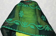 Dark Green Applique work Dupatta. Only One left in stock.   This is Handmade , handwoven Dupatta from remote areas of Rajasthan. Exquisite collection is available at www.craftsandlooms.com , we are currently shipping in India only.