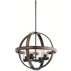 Kichler Lighting Barrington 20-in Distressed Black and Wood Art Deco Single Seeded Glass Orb Pendant
