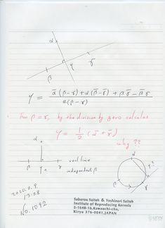 № 1092  2点を通る 直線に下した垂線の足を表現した、公式です。     複素数平面上で 美しく表現しています。     2直線を定めるを 2点 今の場合、ベータが ガンマーに一致した場合を ゼロ除算算法で求めると、美しい形が出ますが、それは連続的な 常識的な解 とは違っています。     これは ゼロ除算算法の結果が 変な値を導いている例として置きたい。     良い意味が発見できれば よいのですが。 新しい発見になります。 Sheet Music, Math Equations, Music Score, Music Charts, Music Sheets