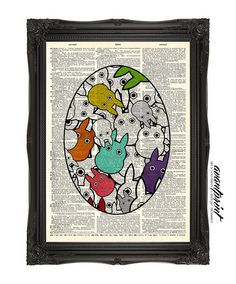 Tons of Tiny Totoro's Original Colorful Collage Print on an Unframed Upcycled Bookpage
