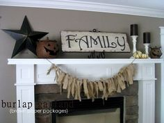 burlap garland, crafts, fall, brown paper packages, mantle decor