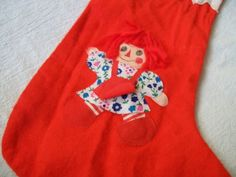 Raggedy Ann Christmas Stocking. Vintage by VintagePlusCrafts, $10.00